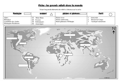 Les grands reliefs – Exercices carte – Géographie  : 4eme, 5eme Primaire