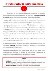 Education aux médias – Cours, Leçon : 4eme, 5eme Primaire