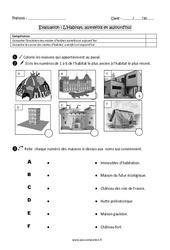 Habitat – Autrefois et aujourd'hui – Examen Evaluation : 2eme Primaire
