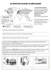 Le milieu tempéré – Exercices géographie  – Les climats dans le monde : 4eme, 5eme Primaire