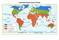 Carte des climats dans le monde – Géographie  : 4eme, 5eme Primaire