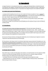 La francophonie – Cours, Leçon géographie : 4eme, 5eme Primaire