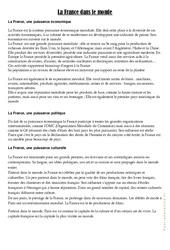 La France dans le monde – Cours, Leçon géographie : 4eme, 5eme Primaire