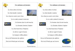 Poésie animaux – Fiches Les animaux astronomes – Français : 2eme Primaire