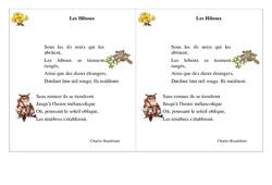 Poésie animaux – Fiches Les Hiboux – Français : 2eme Primaire