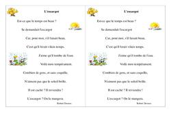 Poésie animaux – Fiches L'escargot – Français : 2eme Primaire