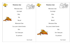 Poésie animaux – Fiches Monsieur chat – Français : 2eme Primaire