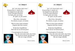 Poésie – Le cirque –   Français : 2eme Primaire