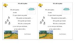 Poésie – M'a dit la pluie –   Français : 2eme Primaire