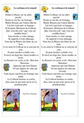 Le corbeau et le renard – Jean De La Fontaine – Fable : 3eme, 4eme, 5eme Primaire