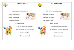La merveille – Fête des mères – Poème et poésie : 2eme Primaire