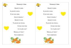 Maman je t'aime – Fête des mères – Poème et poésie : 2eme Primaire