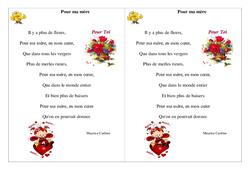 Pour ma mère – Maurice Carême – Fête des mères- Fiches  – Poème et poésie : 2eme Primaire