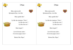 À Papa – Poésie, poème – Fête des pères : 2eme Primaire