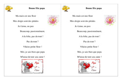 Poésie, poème – Fête des pères – Bonne fête papa – 2 : 2eme Primaire