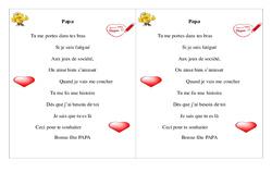 Papa – Poésie, poème – Fête des pères : 2eme Primaire