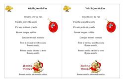 Voici le jour de l'an – Poésie, poème – Nouvel an : 2eme Primaire