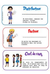 Etiquettes métiers de la classe – Trucs et astuces de classes – Outils pour la classe : 2eme, 3eme, 4eme, 5eme Primaire