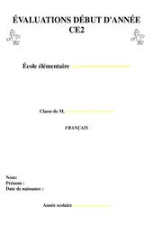 Evaluation – Diagnostique début d'année – Français : 3eme Primaire