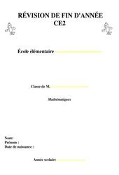 Révisions fin d'année – Mathématiques – Examen Evaluation  : 3eme Primaire
