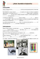 Ecole- Fiches aujourd'hui et autrefois – Cours, Leçon : 3eme Primaire