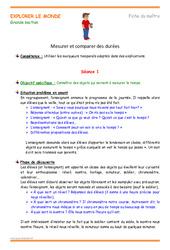Mesurer et comparer des durées – Plan de séquence : 3eme Maternelle – Cycle Fondamental