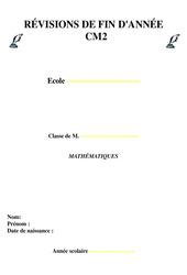 Révisions fin d'année – Mathématiques : 5eme Primaire