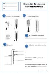 Thermomètre – Examen Evaluation : 2eme Primaire