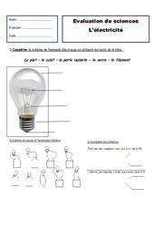 Electricité – Examen Evaluation : 2eme Primaire
