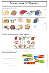 Jeux sur l'alimentation – Exercices – Aliments – Découverte du monde : 2eme Primaire
