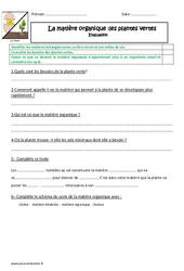 Matière organique – Plante verte – Examen Evaluation : 4eme, 5eme Primaire