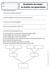 Générations – Famille – Examen Evaluation – Espace temps : 2eme Primaire
