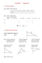 Trigonométrie- Fiches Cosinus, Sinus, Tangente – Angles – Géométrie – Exercices – Examen Contrôle – Mathématiques : 2eme Secondaire