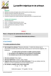 Animaux – Matière organique – Fiche de préparation : 4eme, 5eme Primaire