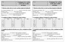 Futur – Etre, avoir, aller – Conjugaison – Exercices corrigés : 2eme Primaire
