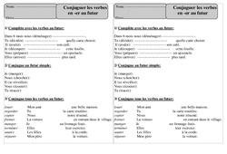 Verbes en er – Futur – Conjugaison – Exercices corrigés : 2eme Primaire
