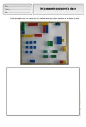 De la maquette au plan de la classe – Représenter l'espace – Exercices – Espace temps : 1ere, 2eme Primaire