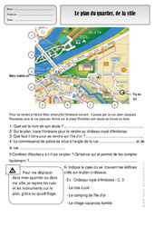 Plan du quartier – Ville – Représenter l'espace – Exercices – Espace temps : 2eme Primaire