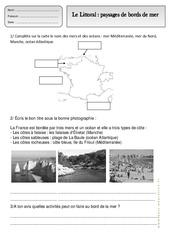 Littoral – Paysages de bords de mer – Exercices – Espace temps : 2eme Primaire