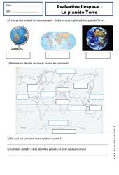 Planète Terre – Examen Evaluation – Espace temps : 2eme Primaire