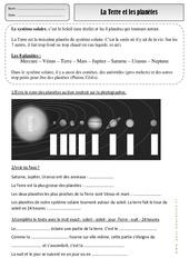 Terre – Planètes – Exercices – Espace temps : 2eme Primaire