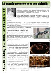 2 octobre – Journée internationale de la non violence – Exercices – Lecture compréhension : 3eme, 4eme, 5eme Primaire