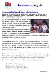 Semaine du goût – Début  – Sciences – Texte documentaire – Questions et correction : 2eme, 3eme, 4eme Primaire