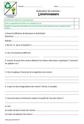 Environnement – Examen Evaluation : 4eme, 5eme Primaire