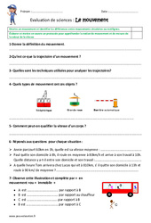 Mouvement – Examen Evaluation : 4eme, 5eme Primaire