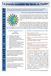 Journée mondiale des droits de l'enfant – Ressources pédagogiques – Instruction civique : 3eme, 4eme, 5eme Primaire