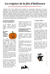 Halloween- Fiches Les origines – Lecture compréhension : 3eme, 4eme, 5eme Primaire