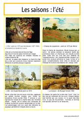 Eté – Les saisons – Lecture d'une oeuvre artistique – Histoire de l'art : 3eme, 4eme, 5eme Primaire