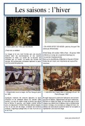 Hiver – Les saisons – Lecture d'une oeuvre artistique – Histoire de l'art : 3eme, 4eme, 5eme Primaire