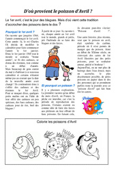 Poisson d'avril – Texte documentaire : Primaire – Cycle Fondamental